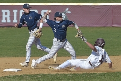 Malvern Prep's (2) Cam Conley turned the double play after the throw from second bas (24) Ryan Cochran on West Chester Henderson's  (19)  Dylan Grim.