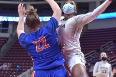 Cardinal O'Hara's (3) Amaris Baker goes to the basket as Chartiers Valley (22) Abbey Vaites defends in the first half Saturday evening at the Giant Center. The Lions won by a score of 51-37 to win their first PIAA title in team history.