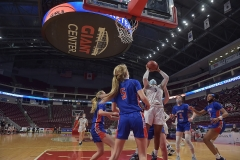 Cardinal O'Hara's Amaris Baker shoots against against Chartiers Valley in the first half Saturday evening at the Giant Center. The Lions won by a score of 51-37 to win their first PIAA title in team history.