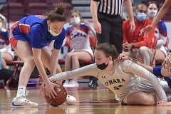 Cardinal O'Hara's Maggie Doogan scrambles for a loose ball against against Chartiers Valley's Mia Colbert (3)  as the Lions defeated Chartiers Valley Saturday evening by a score of 51-37 to win their first PIAA title in team history.