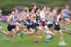 Runners in the second flight start the Ches-Mont Championships Wednesday afternoon at Unionville High School.