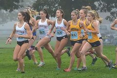 West Chester Henderson's Jenna Milhern led from start to finish in Ches-Mont Cross County Championships at Unionville High School Wednesday. Milhern finished in a time of 188:55.