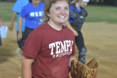 Morgan Dey,of Downingtown East is all smiles after she hauled in the final out to secure the 3-2 victory.