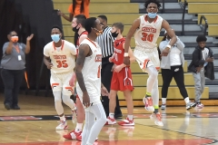 Cheste rplayers (35) Larenzo Jerkins, (1) Fareed Burton and (30) Karell Watkins as the Clippers defeated Crestwood in overtime of the PIAA quarterfinals Friday evening.