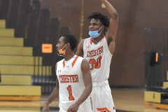 Chester players  (1) Fareed Burton and (30) Karell Watkins as the Clippers defeated Crestwood in overtime of the PIAA quarterfinals Friday evening.