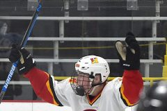 Hugs all around. Haverford's (4) Dan Quartapella reacts to his third period in Flyers Cup action at the Skatium.