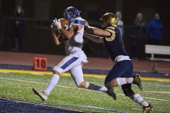 Great Valley defender (2) Ryan Banavitch grabs an interception in the end zone for a touchback in the third  quarter.