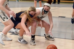 Pope John Paul II's Amelia Kennedy, left, and Methacton's Mairi Smith battle for a loose ball. (Owen McCue - MediaNews Group)