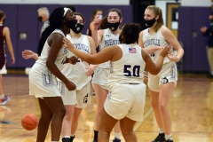 From left, Phoenixville's Nailah Green, Sammy Brown, Aubrie Breisblatt, Gianna Thaxton and Dylan McAleer celebrate a win over Pottsgrove on Wednesday. (Owen McCue - MediaNews Group)