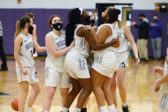 From left, Phoenixville's Jaime Michaud, Sammy Brown, Nailah Green, Aubrie Breisblatt, Gianna Thaxton and Dylan McAleer celebrate a win over Pottsgrove on Wednesday. (Owen McCue - MediaNews Group)
