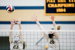 Unionville's Jillian Murphy and Genna Weeber go up for a block against Parkland. (Nate Heckenberger - For MediaNews Group)