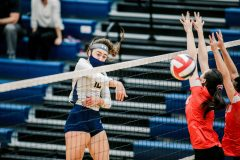 Unionville's Sophie Brenner scores a kill against Parkland. (Nate Heckenberger - For MediaNews Group)