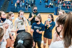 Unionville's Stephanie Smith leads a chear after her team defeated Parkland. (Nate Heckenberger - For MediaNews Group)