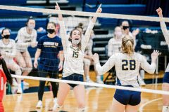 Unionville's Ashlyn Wiswall celebrates after a point in the first game. (Nate Heckenberger - For MediaNews Group)
