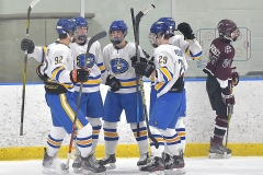 Downingtown West's Tyler DeTtreux, second from left, and teammates celebrate his second period goal agaol against Henderson.