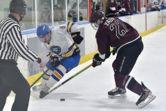 Downingtown West's (8) Eddie Gustin and Henderson's (27) Bradley Yaun attempt to control a loose puck in the second period.