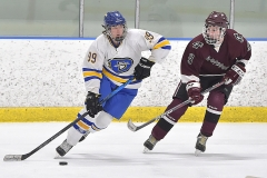 Downingtown West's (99) Brian Singewald carries the puck as Henderson's (9) Dylan Tench in the second period.