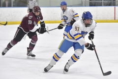 Downingtown West's (93) Trent Thomas carries the puck out of the defensive zone as Henderson's (88) Alex Holloway chases in the second period.