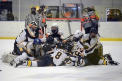 The Spring-Ford ice hockey team piles on the ice following Wednesday's ICSHL Pioneer championship game win over Perkiomen Valley at Center Ice. (Owen McCue - MediaNews Group)