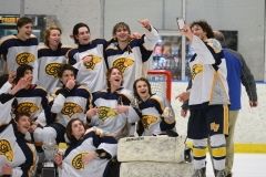 Spring-Ford captain James Kisela takes a selfie with his teammates following Wednesday's ICSHL Pioneer championship game win over Perkiomen Valley at Center Ice. (Owen McCue - MediaNews Group)