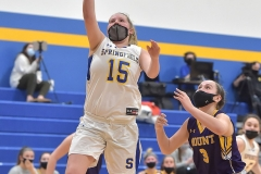 Springfield senior Rachel Conran puts a shot up in the second quarter against Mount St. Joseph.
