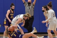 Springfield's (15) Rachel Conran gained control on this jump posession  with Mount St. Joseph's Lauren Hoffman with under 10 seconds remaining to help give Springfield a 42-41 victory.