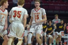 West Chester East's (15) Andrew Carr reacts after (35) Kieran Hefferan hit a three point basket in the second half.