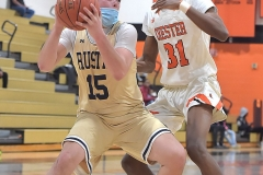 West Chester Rustin's (15)James Chobany steps up against Chester's (31) Shaquan Horsey in the third quarter