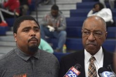 CHester Athletic Director Andre Morris and Supt. Juan Baughn spoke before the game.