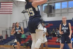 Villa Maria's Carina Chieffalo hits a jump shot against Mastery Charter School in PIAA playoffs Wednesay evening at Cardinal O'Hara High School. The Hurricane were victorious to advance to the next round of playoffs.