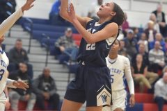 Villa Maria's Myla Warley hits a shot against Mastery Charter School in PIAA playoffs Wednesay evening at Cardinal O'Hara High School. The Hurricane were victorious to advance to the next round of playoffs.