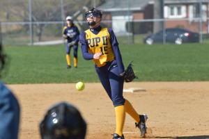 Pope John Paul II's Ashley Remmington delivers to the plate during the first inning. (Sam Stewart - Digital First Media)