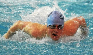Bob Raines—Digital First Media North Penn's Corey Smith the butterfly in the boys 200 yard individual medley during the Jan. 22, 2016 meet at Souderton.