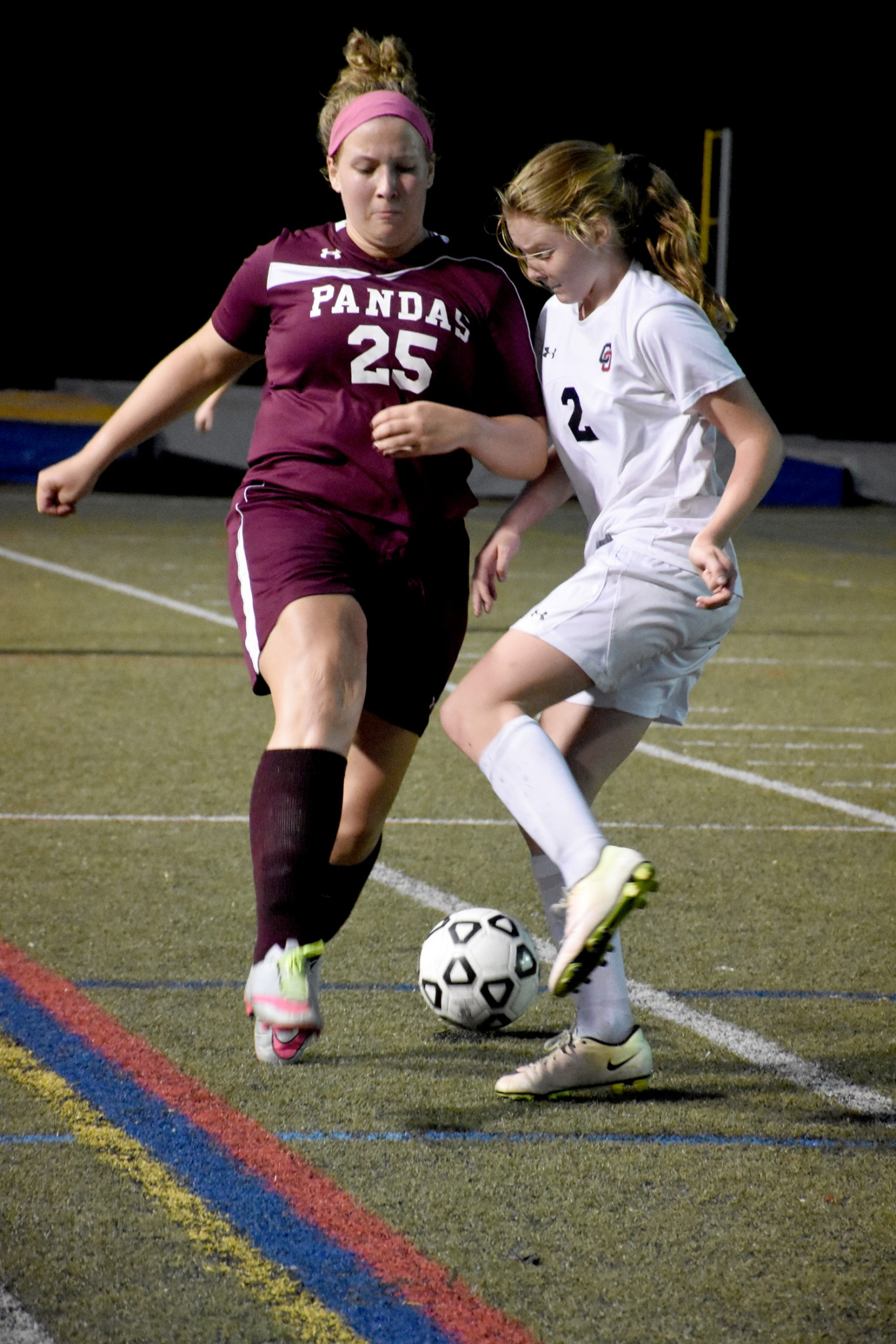 Cardinal O'Hara's Gina Amoroso, right, attempts to keep the ball away from Bonner & Prendergast's Kelsey Czibik. O'Hara claimed a 3-2 win Tuesday in the Catholic League play-in game. (Digital First Media/Anne Neborak)