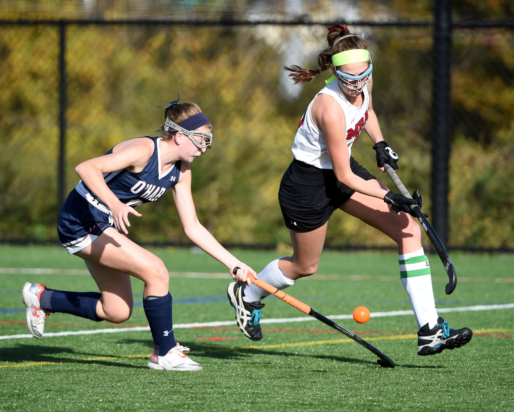 Bonner & Prendergast's Riley Dolan, right, tries to get around Cardinal O'Hara's Sara Hayes. (Digital First Media/Pete Bannan)