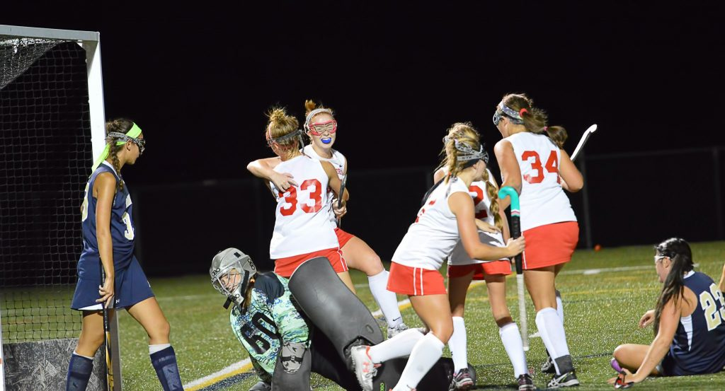 Owen J. Roberts' Leanne Faust and Bridget Guinan celebrate after Faust scored the eventual game-winner. (Sam Stewart - Digital First Media)