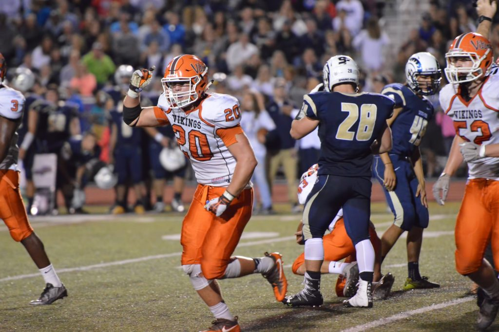 Perkiomen Valley's Nick Marren celebrates after the Rams failed to convert a field goal try in the third quarter. (Sam Stewart - Digital FirstMedia)