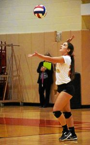 ANNE NEBORAK-DIGITAL FIRST MEDIA Gwynedd Mercy's Gabrielle DeLucca serves the ball.