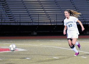 Pennridge's Olivia Fernandez took defense on the ball during the first half of Tuesday night's game against Stroudsburg.