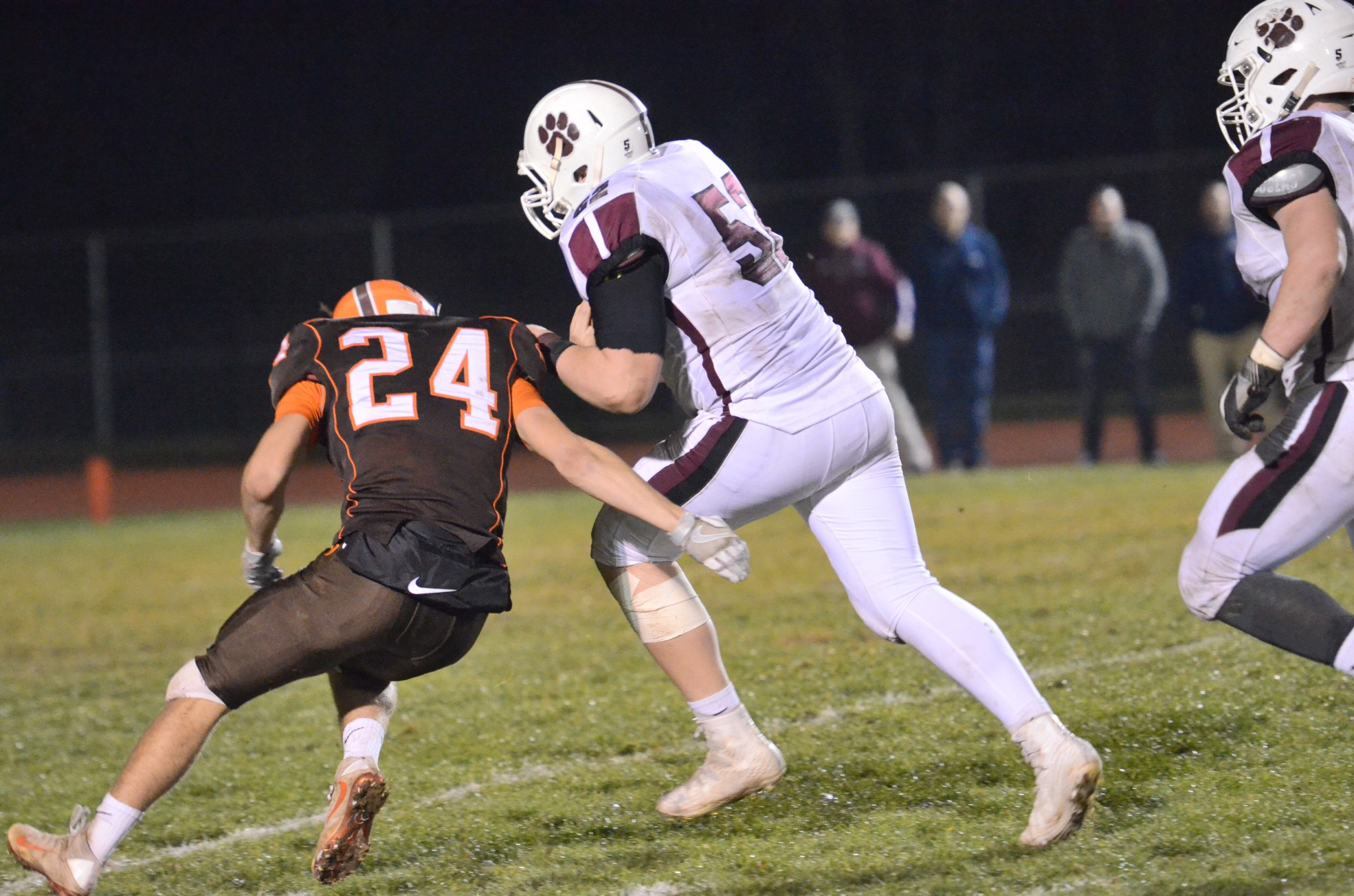 Garnet Valley linebacker Shane Donegan runs with an interception Friday. the running game and defense was a simple recipe to a third straight upset, 44-27 over No. 3 seed Perkiomen Valley in the District 1 Class 6A semifinal. (Digital First Media/Sam Stewart)