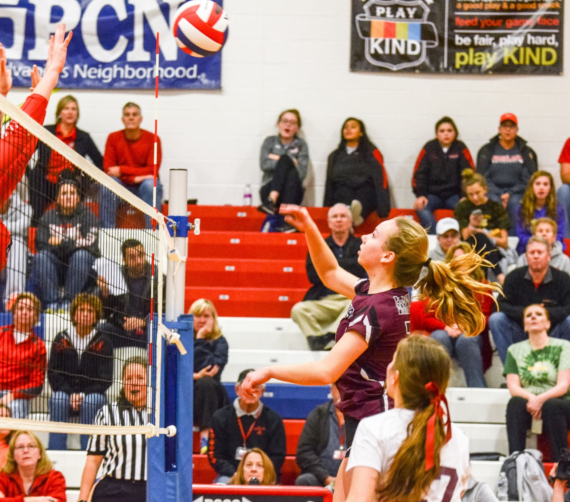 Garnet Valley's Nicole Loan delivers a shot over the net Saturday. Loan accounted for 14 kills and four blocks in the Jaguars' 3-2 win over Parkland in the PIAA Class 4A final. (For Digital First Media/Tami Knopsnyder)