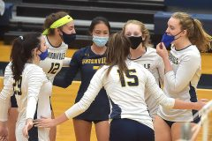 Unionville players in the the District 1- 4A volleyball against Council Rock North in game 1 Thursday evening at Unionville High School.