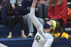 Unionville's (12) Sophie Brenner hits a ball in the the District 1- 4A volleyball final against Council Rock North 3 games to 0 Thursday evening at Unionville High School.