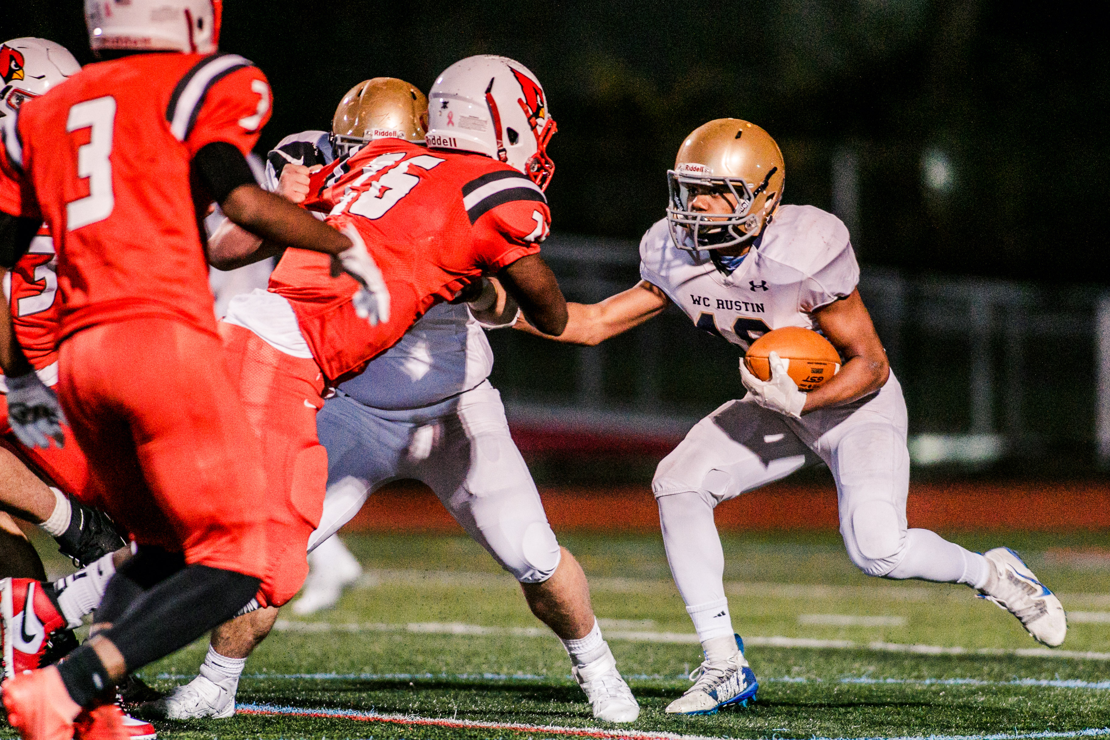 West Chester Rustin's Dayshawn Jacobs looks for running room, but could not find much against Upper Dublin. (Nate Heckenberger - For MediaNews Group)
