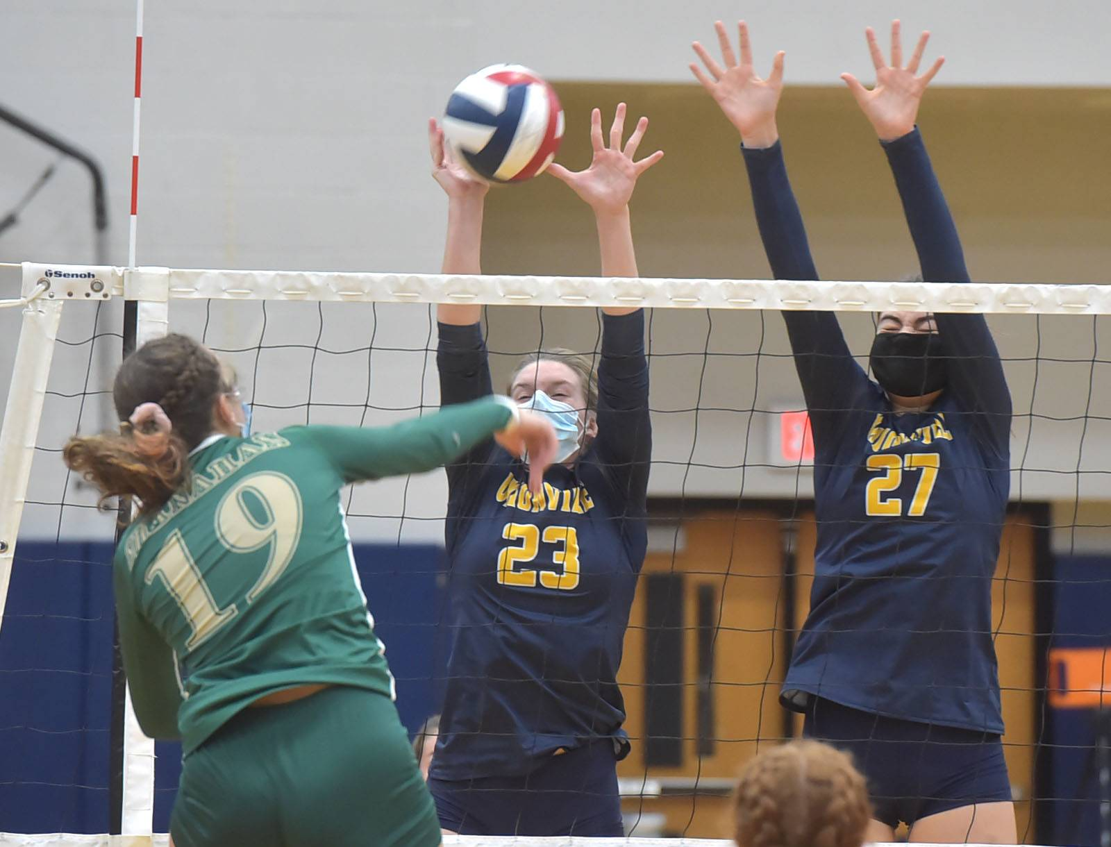 Unionville's (23) Jillian Murphay and (17) Maddy Lowe handle a ball from Bishop Shanahan (19) Coco Shultz  Wednesday afternoon.