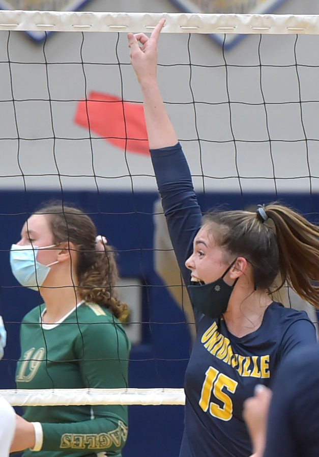 Unionville's Ashlyn Wiswall reacts to a point as they defeated Bishop Shanahan for the unofficial league title.